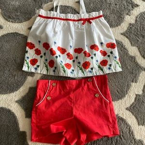 Janie and Jack White floral and red shorts outfit